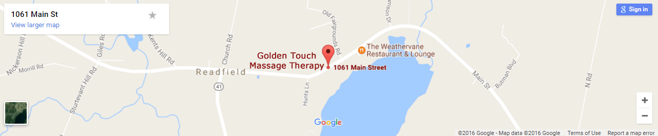 Map to Golden Touch Massage Therapy, Readfield, Maine.
